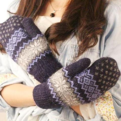 Christmas Gift, Egmy 1PC Knit Wool Women Girl Snowflake Winter Keep Warm Mittens Gloves (Navy) - Top Snowflakes