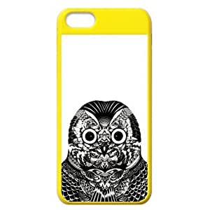 Black and White Owl Protective Colorful Hard Shell Yellow Cover Case for iPhone 5C