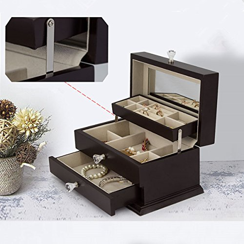 Real Natural Hardwood Wooden Jewelry Box (1-ZH-WJC3BK) by Kendal (Image #5)