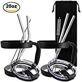 10 Pieces 20oz Tumbler Holders Handles + Tumbler Lids + Stainless Steel Straws + Cleaning Brushes, SourceTon Accessories Kit for Yeti Rambler Rtic Ozark Trail Berg SIC, Lids & Handles in Black