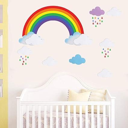 Bamsod Kids Wall Sticker Rainbow Wall Decal Nursery Home Decor 43x96cm