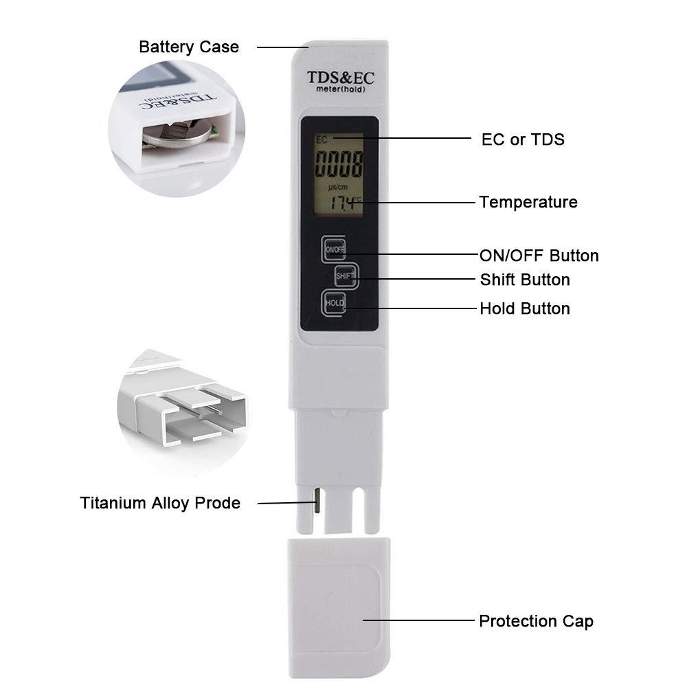 Medidor TDS//EC//TEMP herramienta de prueba del medidor de calidad del agua Digtal TDS y temperatura EC 0-9990 ppm para agua potable dom/éstica piscinas
