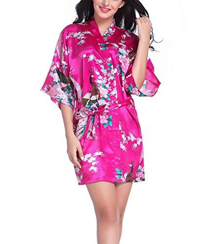 Bata tipo kimono corto para mujer, diseño de pavo real y flores, seda, ropa de dormir Hot Pink