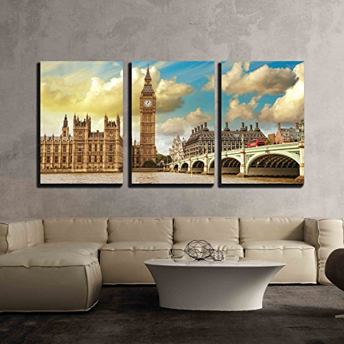 wall26 - 3 Piece Canvas Wall Art - London View of Westminster Bridge and Houses of Parliament with Thames River - Modern Home Decor Stretched and Framed Ready to Hang (Castle Canvas Art)