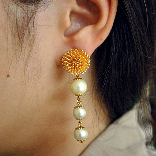 (Abhika Creations Golden Spiral Stud With Dangling White Pearls Handmade Women Designer Indian Bollywood Style Earrings Statement Jewelry Earrings For Girls)