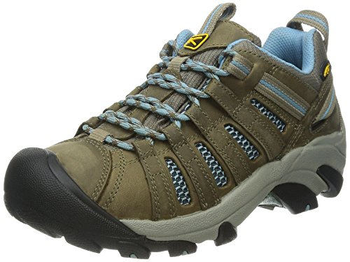 KEEN Women's Voyageur Hiking Shoe,  Brindle/Alaskan Blue, 8.5 B - Medium