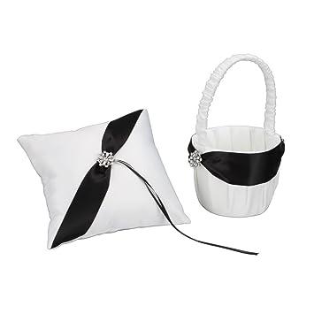 Amazon olymstoretm black and white elegant satin ring pillow olymstoretm black and white elegant satin ring pillow flower girl basket set mightylinksfo