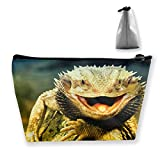 Women Funny Bearded Dragon Lizards Art Storage Bag Pouch Multi-Purpose Travel Makeup Train Case Lazy...