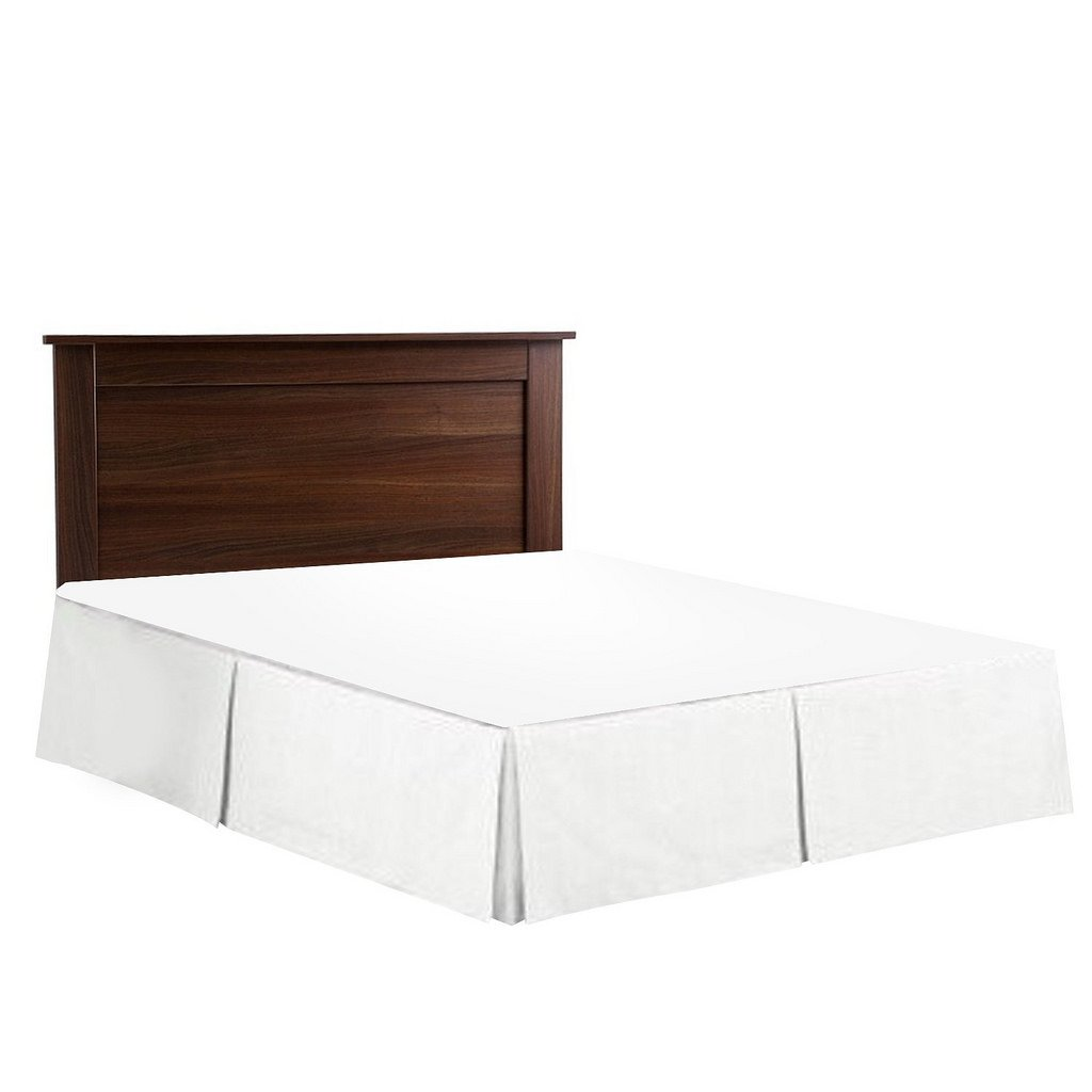 Splendid Collection 1800 Series Brushed Microfiber 18 Inch Drop Length (Queen, Solid White) - Bed Skirt with Box Pleated and Split Corners - Wrinkle & Fade Resistant