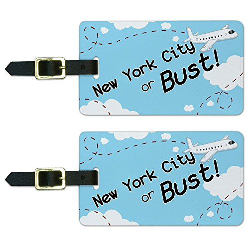 Graphics & More New York City or Bust Flying Airplane Luggage Suitcase Carry-on Id Tags, White