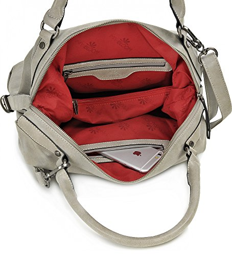 MIYA BLOOM Bolso para mujer, Bolso de mano, Bolso bandolera, Bolso cuero, Bolso piel, Cuero sintetico, Color Coñac, 40 x 30 x 14 cm Grey