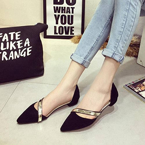 Single Pointed Bag Ladies Piece Color Bottom YC L Sandals With Metal Trim Women Black Candy Of Flat wfxqftgTU