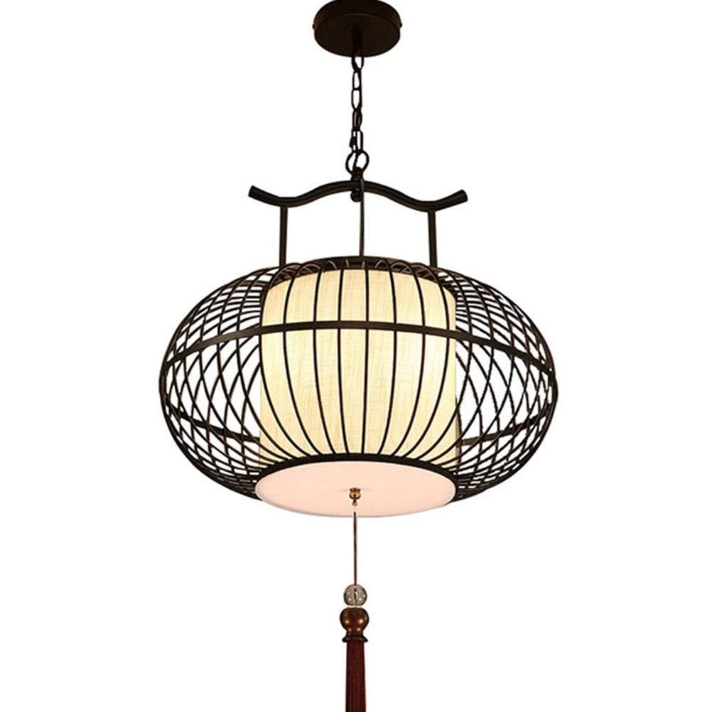 雪丽的家居 シャンデリア中国風錬鉄製の布製鳥かごペンダントライト天井照明リビングルームベッドルームレストランバーカフェE27暖かい光 (サイズ さいず : 55CM) B07Q85XJVK  55CM