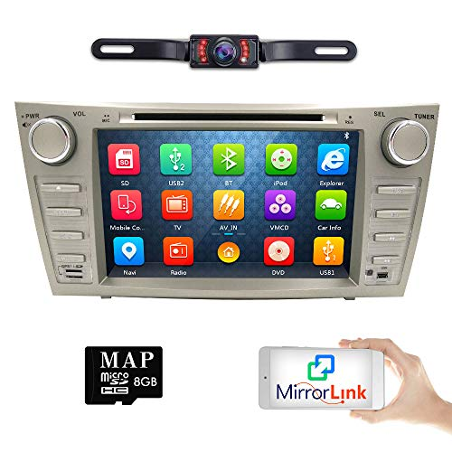 hizpo Rear Camera Included for Toyota Camry 2007 2008 2009 2010 2011 8 inch Indash CAR DVD Player GPS Navigation Navi iPod Bluetooth HD Touchscreen Radio RDS FM+Free US GPS Map Card -