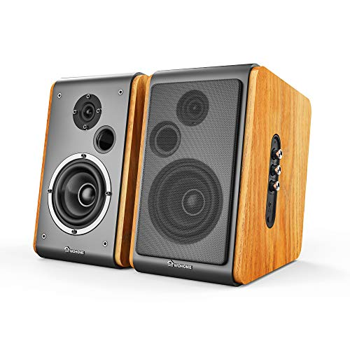 (Wohome Bookshelf Speakers 60W Powered Bluetooth Active Home Theater Speaker (Pair, Wooden Enclosure, Wood Color, 4 Inch Driver, Model)