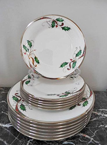 Lenox Nouveau Platinum White 12 Pc SET - 6 Dinner Plates, 6 Salad Plates