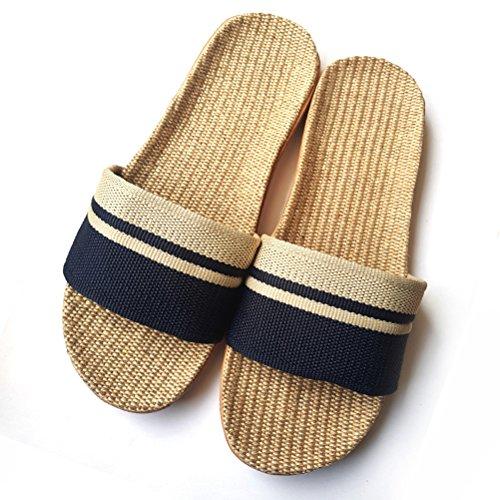Non Slip Wind Slippers Slippers for Women Linen Beach Sandals Goal Outdoor Home Blue Men Couples Indoor Summer BqOrBTnw7