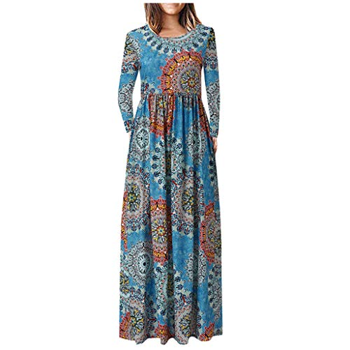 DONTAL Womens Casual Long Sleeve Pockets O Neck Floral Printed Ankle Length Dress Party Dress Blue