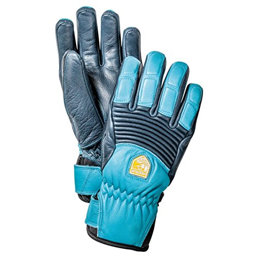 Hestra 30210 Women's Leather Fall Line Gloves, Navy/Turq - 6