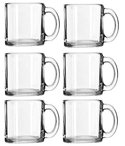 Libbey Crystal Coffee Mug Warm Beverage Mugs Set of (13 oz) (6) -