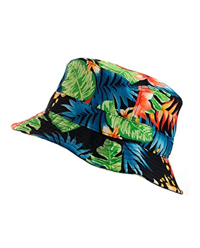 NYfashion101 Fashionable Unisex Satin Lined Printed Pattern Cotton Bucket Hat (Green Floral 2106)