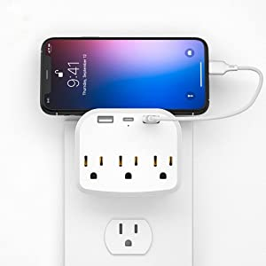 3 Outlet Surge Protector, Multi Plug Outlet Expanders USB Wall Charger with 3 Outlets 2 USB Ports 1 Type-C, Wall Plug Outlet Extender for Cruise Ship, Home, Office