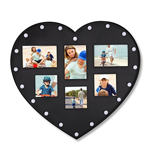 Adeco 6 Opening Black Heart Shape Wall Hanging Photo Frame - Made to Display Three 4x6 Photos and Three 4x4 Photos
