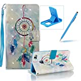 Strap Leather Case for Huawei P9 Lite,Wallet Stand Flip Case for Huawei P9 Lite,Herzzer Bookstyle Stylish Pretty 3D Feather Dreamcatcher Pattern Magnetic PU Leather with Soft Silicone Inner Back Case for Huawei P9 Lite