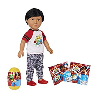 """NS Boys Kids Ryans Ryan's Ryan World (1) My Life Doll Toy Review 7 Piece 18"""" 3 Surprises 2 Blind Pack and (1) Ryan's Giant Orange Egg Series 3 and (1) Noelles Light UP Dino Fiber Stick- Gift Bundle"""