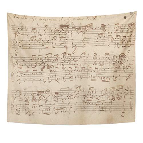 (Semtomn Tapestry Artwork Wall Hanging Historic Music Notes Bach Sheet Vintage Piano Sebastian 60x80 Inches Home Decor Tapestries Mattress Tablecloth Curtain)