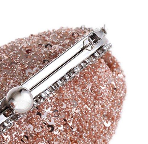 La Nuevo Noche Gray Lentejuelas De Bolso para De Bolso WenL Gold Elegante Embrague Nupcial Bolso Boda Diamantes Prom vxqdXZwa