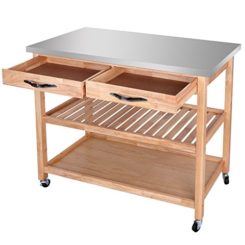 SUPER DEAL Zenchef Rolling Kitchen Island Utility Kitchen Serving Cart w/Stainless Steel Countertop, Spacious Drawers and Lockable Wheels, Natural (Upgraded Stainless Steel) by SUPER DEAL (Image #3)