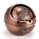 Hipiwe Vintage Windproof Smoking Ashtray with Lids Castle Metal Cigarettes Ash Holder for Outdoor and Indoor(Copper)
