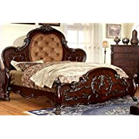 Furniture of America Bastienne Traditional Panel Bed, Eastern King, Cherry
