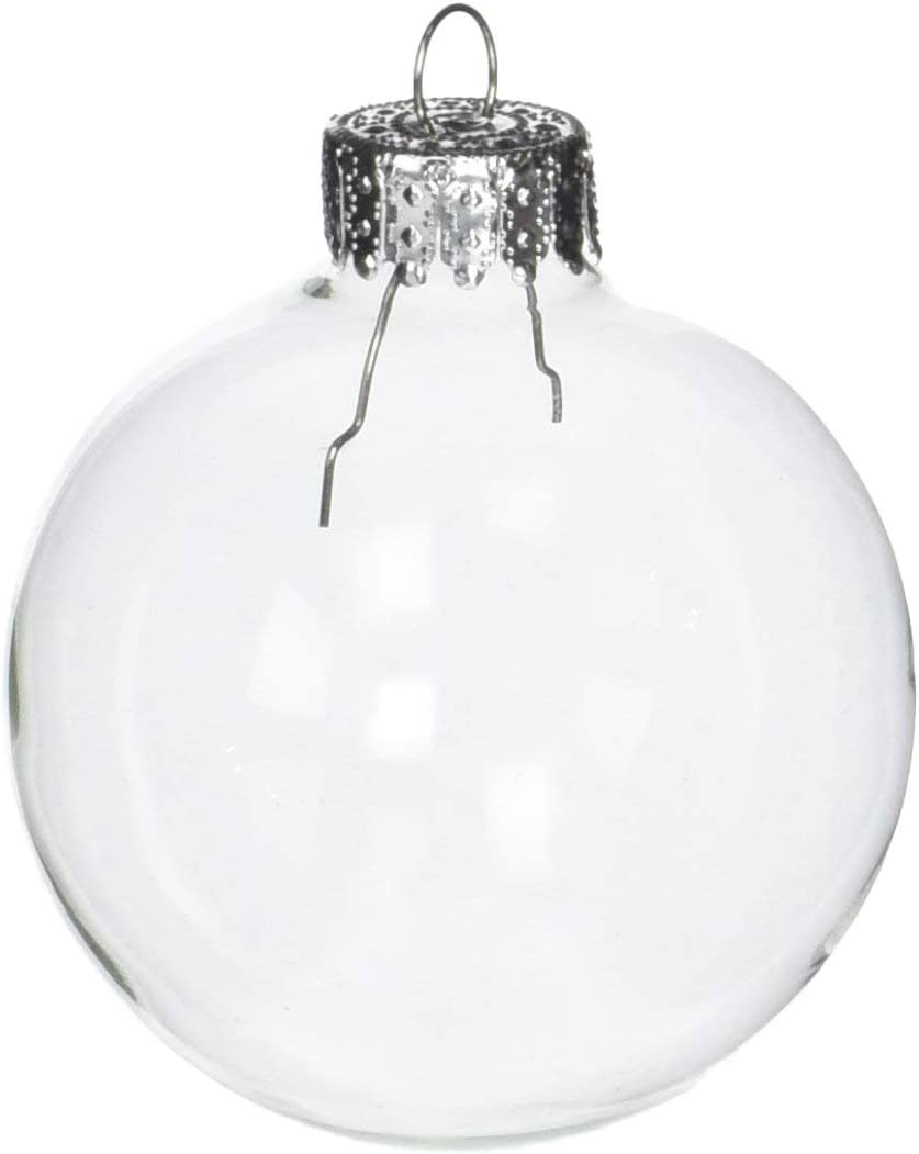Darice Clear, Heavy Duty, Round Glass Balls – Removable Top - Can Be Painted, Embellished and Filled – Make Customized Holiday Ornaments – Perfect for Crafting and Winter Décor, 60mm (10 pieces)