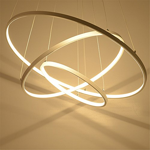 SJDF-Modern pendant lights for living room dining room 321 Circle Rings acrylic aluminum body LED Lighting ceiling Lamp fixtures2 rings Dia4020cmBrightness dimmable 492