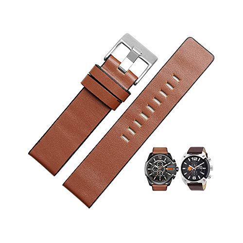 Men's Calfskin Leather Watch Band Compatible with Diesel Watches (26mm, brown1)