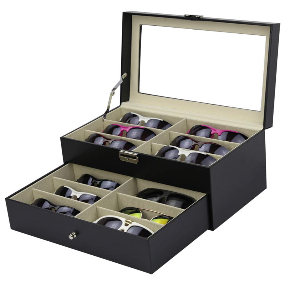 Sunglasses Glasses Watches Organizer Sunglass Storage Box Doublelayer PU Leather Glasses Sunglasses Display Box 12 Beautiful Handmade Wooden Storage Box Organiser for Jewelry and Watch Eyewear Stora