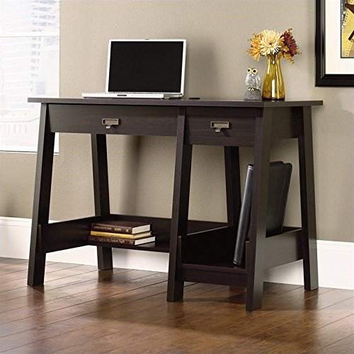 Sauder Office Furniture Trestle Desk in Jamocha Wood