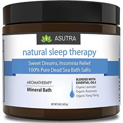 """NATURAL SLEEP THERAPY"" - 100% Pure Dead Sea Bath Salts / Sweet Dreams, Insomnia Relief / Rich In Healing Minerals / Aromatherapy / Organic Essential Oils of Lavender, Rosemary, Ylang Ylang - 16oz"