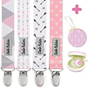 Pacifier Clip by Dodo Babies Pack of 4 + Pacifier Case, Premium Quality For Girls Modern Designs Universal Holder Leash for Pacifiers, Teething Toy or Soothie