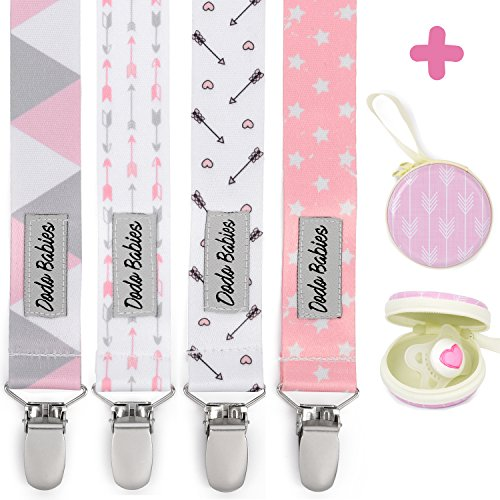 Pacifier Clip by Dodo Babies Pack of 4 + Pacifier Case, Premium Quality for Girls Modern Designs Universal Holder Leash for Pacifiers, Teething Toy or Soothie, Baby Shower Gift Set
