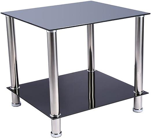 Mesa de café / mesa auxiliar de 2 baldas con estantes de vidrio ...