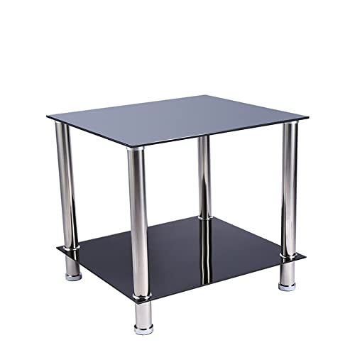 Black And Chrome Glass 2 Tier End Side Coffee Table