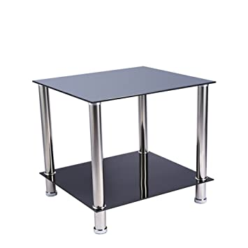 2 Tier End Table Coffee Table Side Table Display Stand Or Lamp Table With  Tempered Glass