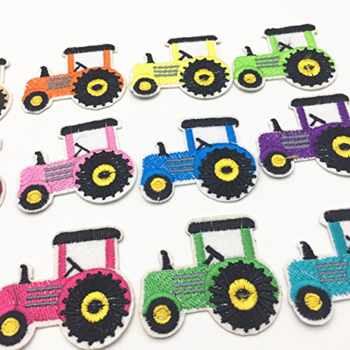 Mixed Truck Clothes Patch DIY Embroidered Tractor Patches Iron On Fabric Baby Garment Appliques Badges Sewing Stickers Pack of 12