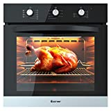 COSTWAY 24' Built-In Single Wall Oven Electric 2.5 Cu. Ft. Capacity Tempered Glass Multi-Function European Convection Oven with Push Buttons Control(9-Functions)