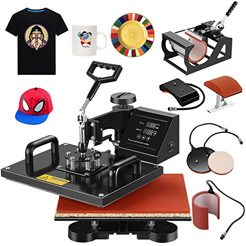Heat Transfer Machine-Nurxiovo 5 in 1 Swing-Away Digital Transfer Sublimation T-Shirt Hot Pressing Machine-Multipurpose Mug/Hat Plate/Cap Press,12x15