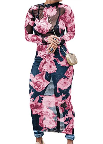 Tribal Fashion Through Dress Women Pink Long Gauze Coolred See Floral Sexy 0Uqn5