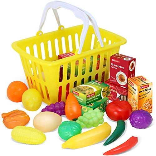 Kidzlane Play Food - 28 Piece Pretend Play Foods in Basket -
